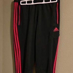 Addidas black & hot pink joggers